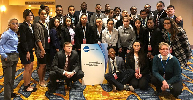 Members of the 2018 NCAA Division III Student Immersion Program at the NCAA Convention in Indianapolis.
