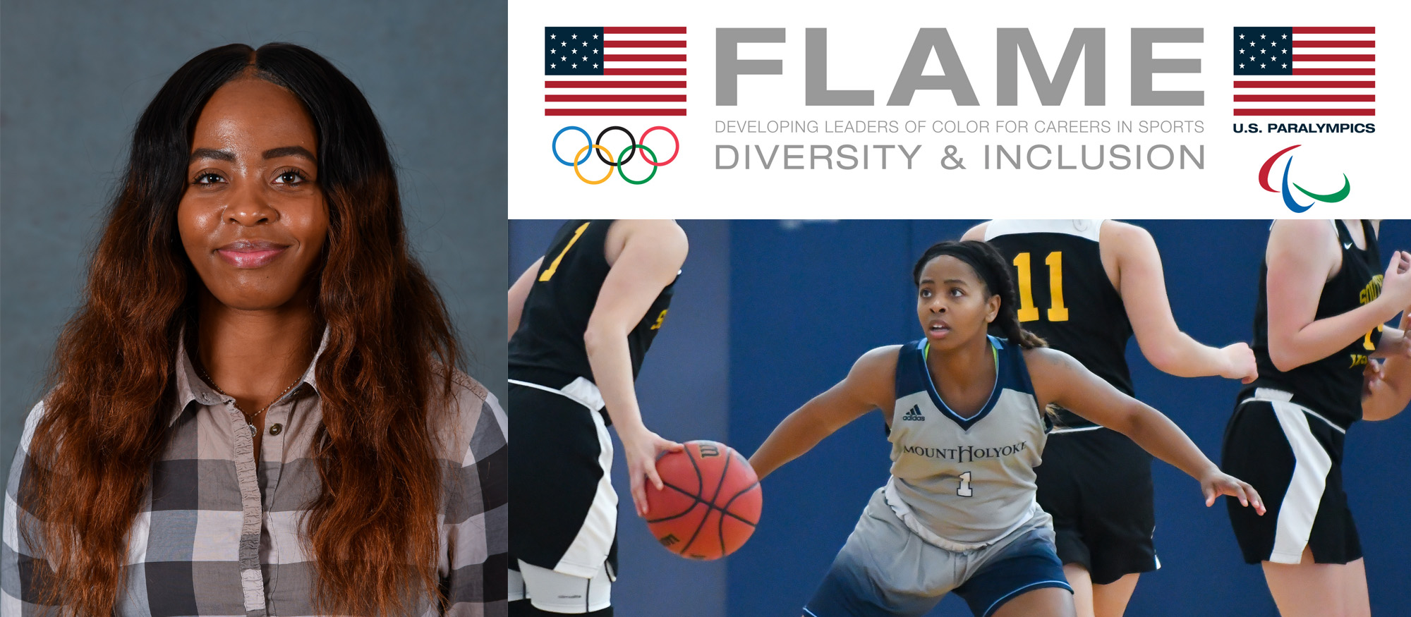 Graphic showing Lyons basketball player, Zahkeyah Allen, who was selected to the U.S. Olympic Committee's FLAME Program.
