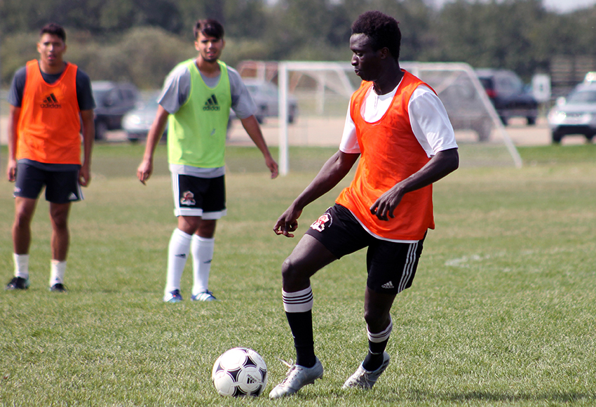 Lahai Mansaray, seen during an intra-squad scrimmage last week, scored two late goals against MRU on Sunday, leading the Griffins to a 3-2 win over the Cougars (Jefferson Hagen photo).