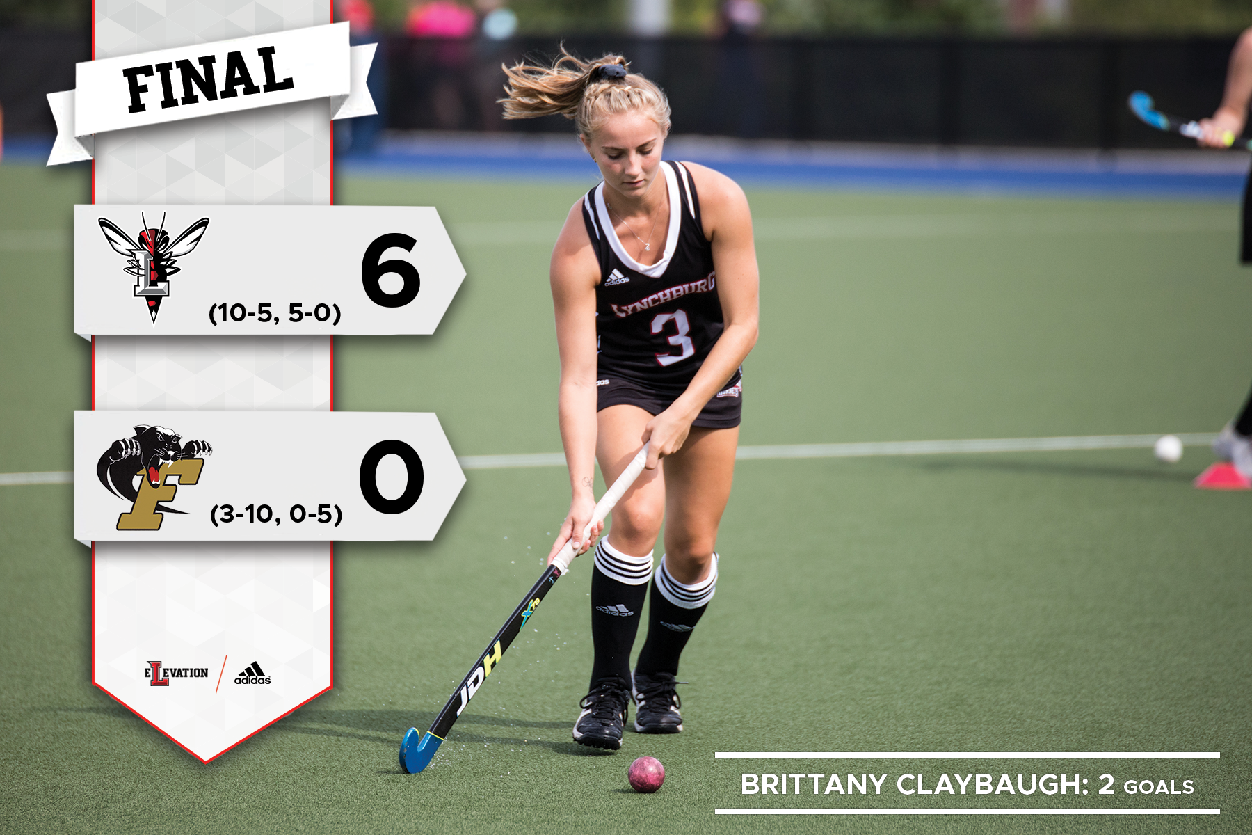 Brittany Claybaugh dribbling in a field hockey game. Graphic showing 6-0 final score.