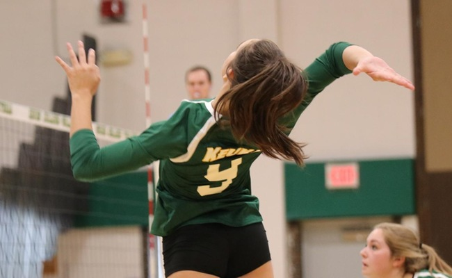 Grace Allen (9) had a career-high seven kills for Keuka College