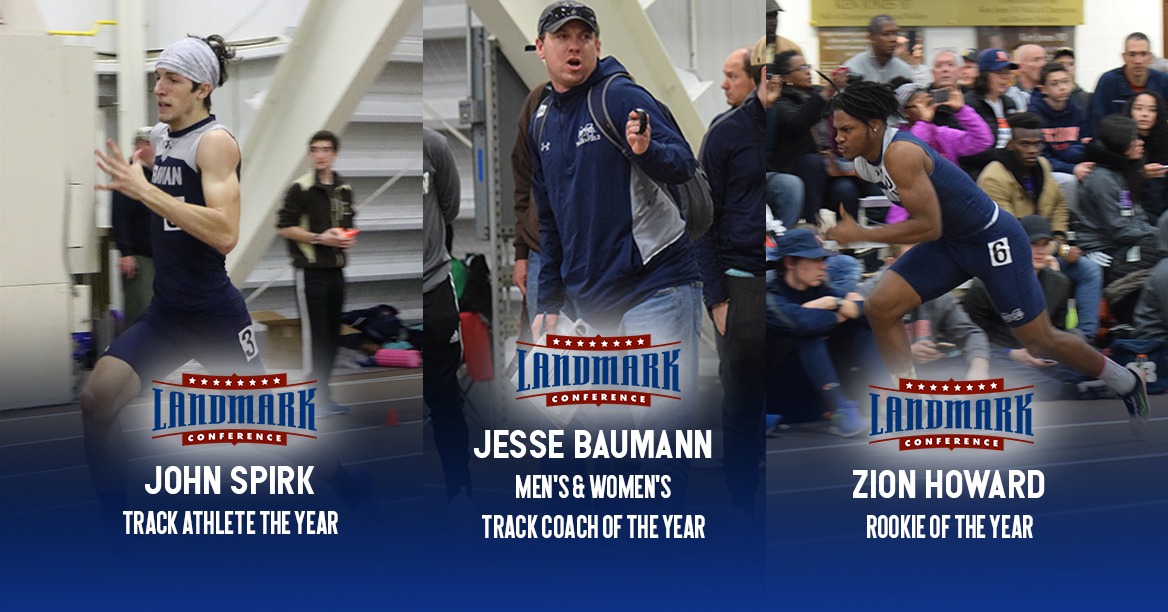 John Spirk '19, Zion Howard '21 and Head Coach Jesse Baumann receive major awards from Landmark Conference after 2018 Indoor Track & Field Championships.