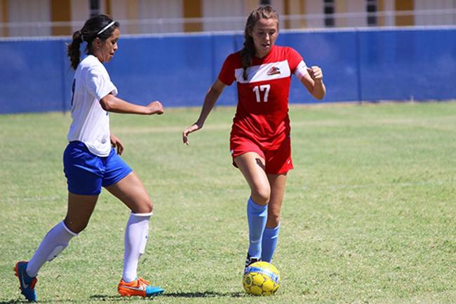 Celeste Cunningham scored the first goal of the season for Mesa in their 2-0 victory over South Mountain(photo by Aaron Webster)