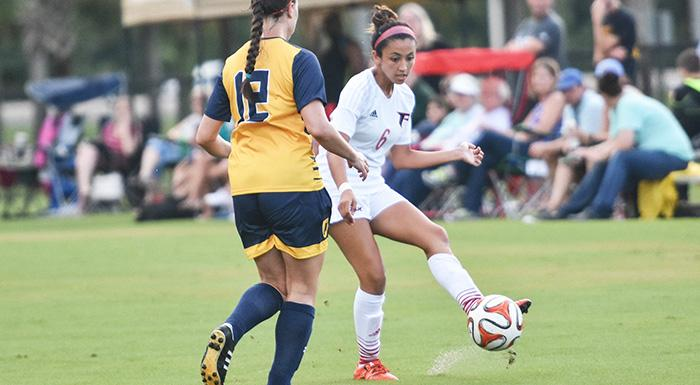 Angelina Conde scored Polk State's lone goal in a 1-0 win over Oxford College. (Photo by Tom Hagerty, Polk State.)