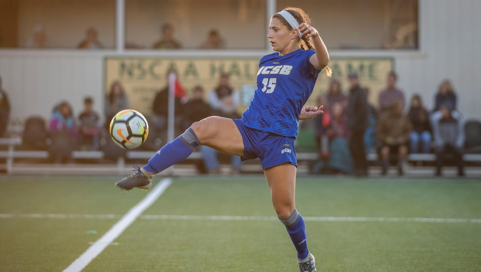 Senior midfielder Madeline Gibson scored the game winning goal, her first of the season, in the Gauchos 3-2 overtime win over Cal. (Photo courtesy of Evan Kokoska)