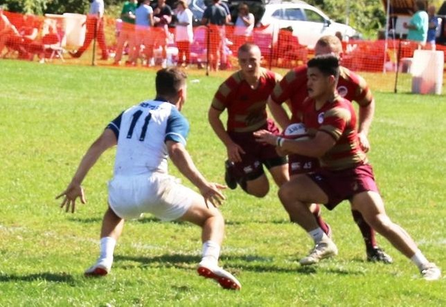 Men's rugby action vs. Bentley
