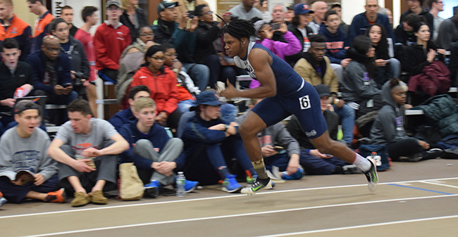 Zion Howard in the 60-meter dash.