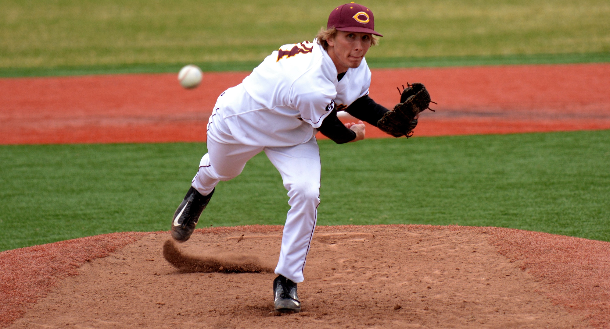 Freshman Austin Ver Steeg delivers a pitch in the first game of the Cobbers' DH vs. Carleton. He went the full 7.0 innings and didn't allow an earned run.