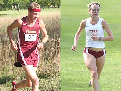 FSU runners Alex Best (left) and Tina Muir (right) compete in Friday's home meet (Photo Courtesy Sandy Gholston)