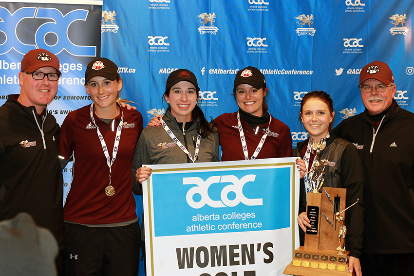 MacEwan claimed its sixth women's golf team title in the past seven years on Sunday. Pictured (from left) coach Jodi Campbell, Rachel Wiebe, Daniela Donnelly, Elizabeth Stewart, Hailey Turcotte and coach Alan Riley.