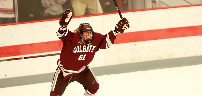 Larson, Eldridge Enjoy Milestone Nights in Colgates Win Over RMU