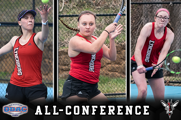 Three tennis players hit shots. Text: ODAC logo, all-conference, Lynchburg Hornet logo