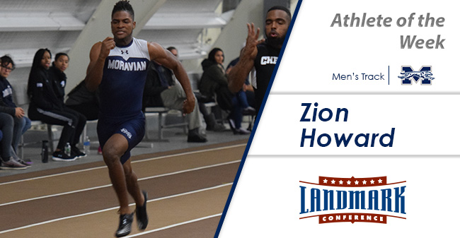 Zion Howard '21 Selected as Landmark Conference Men's Track Athlete of the Week