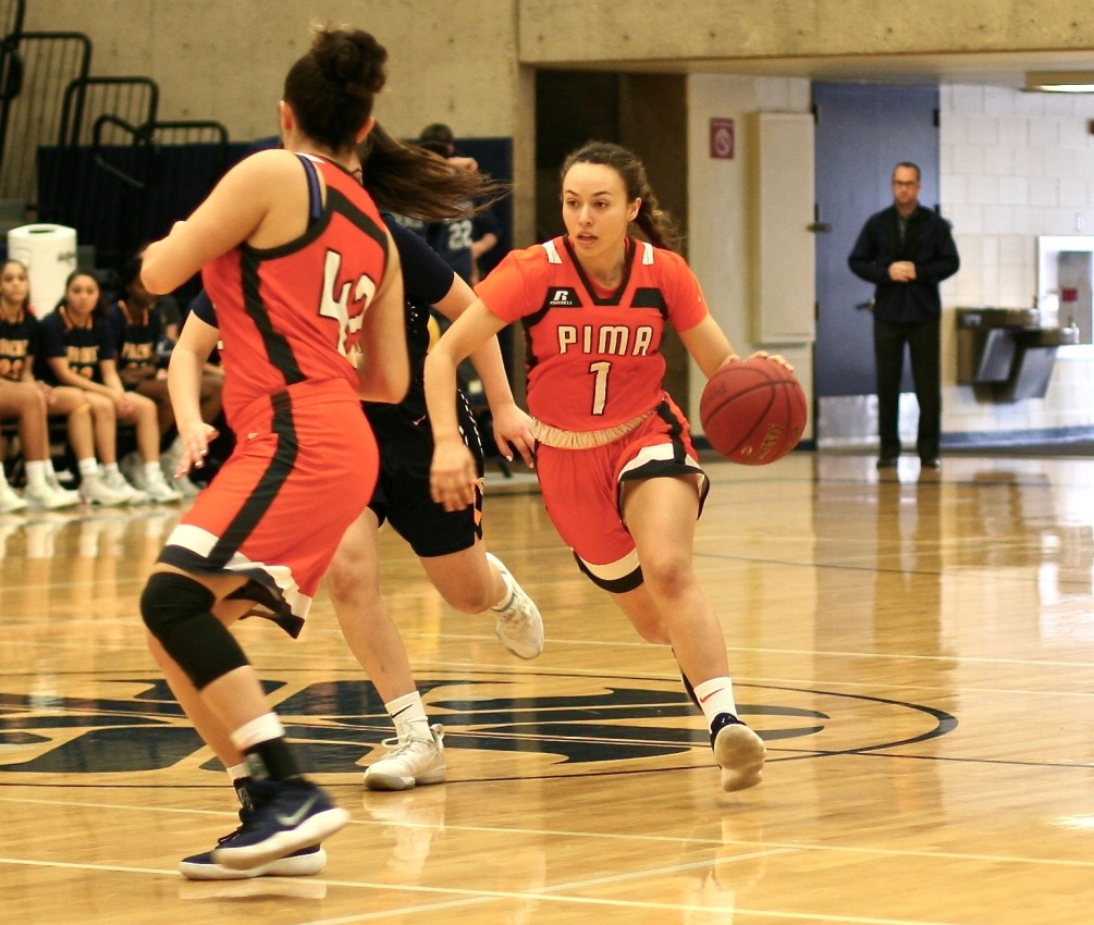 Freshman RyLeigh Long scored 14 points to go along with four rebounds, four steals and three assists off the bench as the Aztecs advanced to the NJCAA Region I, Division II championship after beating Glendale Community College 99-59. The Aztecs are 23-8 overall. Photo by Stephanie Van Latum