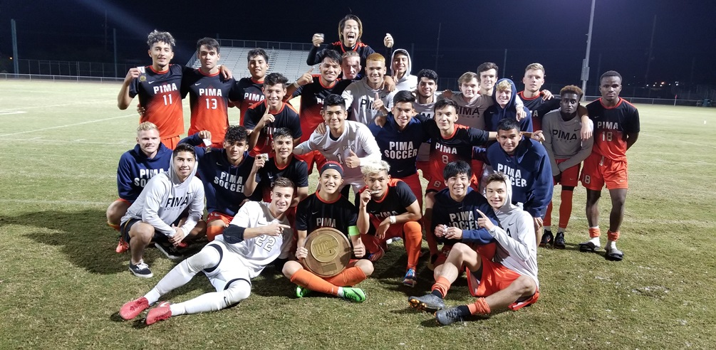 The Aztecs men's soccer team claimed the NJCAA Region I, Division I championship on Saturday in a 2-0 win over Chandler-Gilbert Community College. The Aztecs are 20-2 and will host the NJCAA District I Tournament on Friday and Saturday at Kino North Stadium. Photo by Raymond Suarez