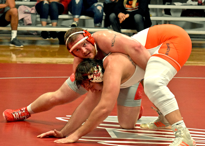 Joseph Pearson recorded a pin in the 285-pound weight class to help Huntingdon clinch a 24-23 win on Sunday.