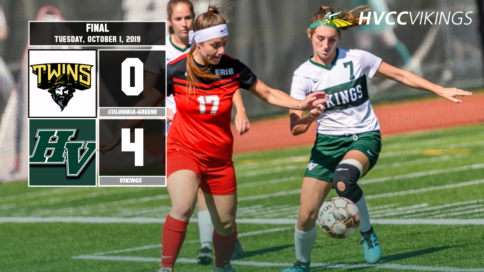 Women's soccer defeated Columbia-Greene 4-0 on 10.1.2019