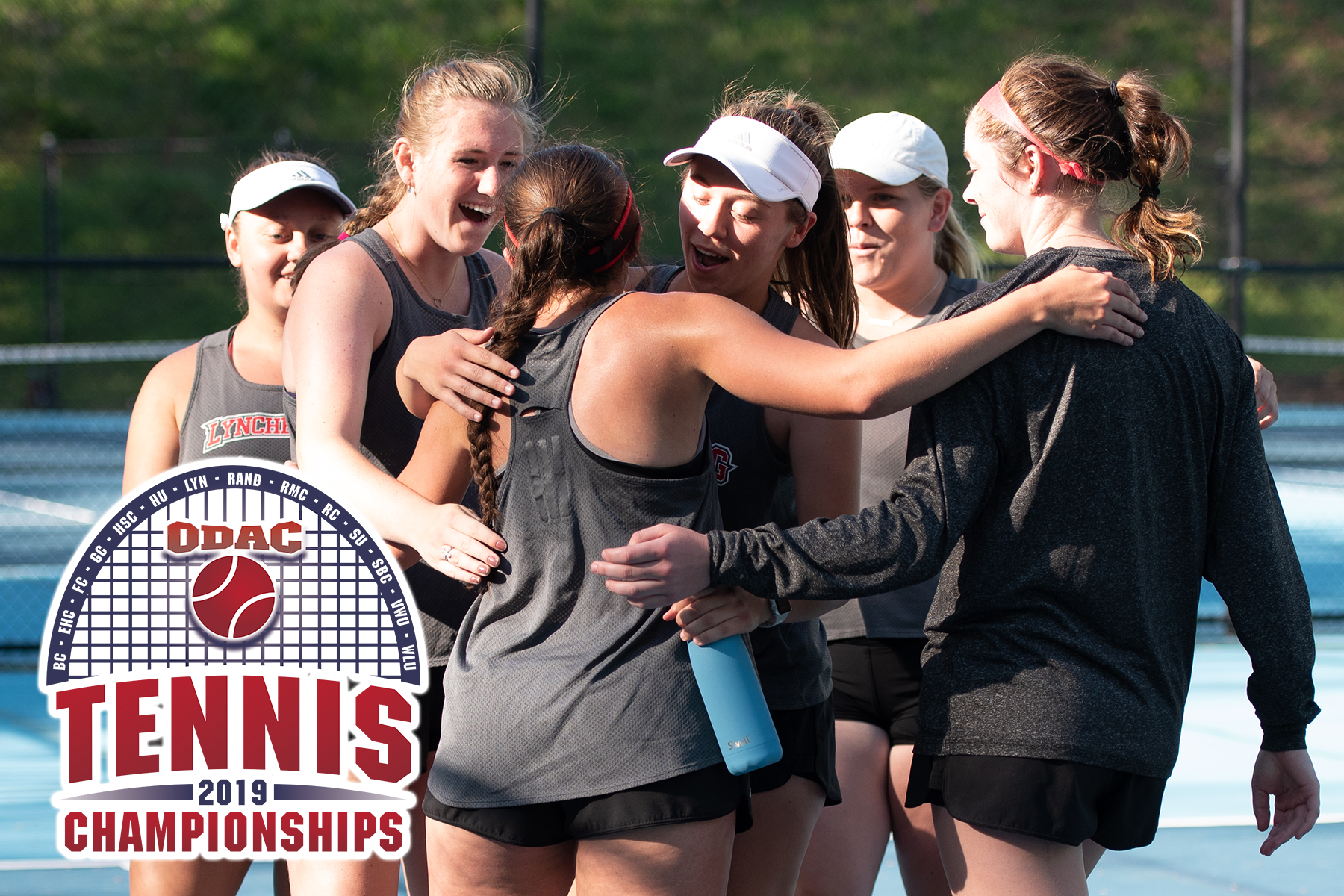 Lynchburg women's tennis celebrates a win. ODAC tennis title logo in left bottom corner