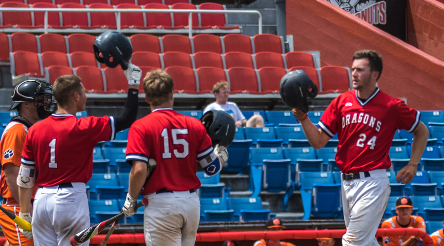 Brock Schaffer had a caree-high six RBIs in Hutchinson's 20-3 win over Neosho County in an elimination game of the 2018 Region VI/Central District Tournament at Lawrence-Dumont Stadium in Wichita. (Allie Schweizer/Blue Dragon Sports Information)