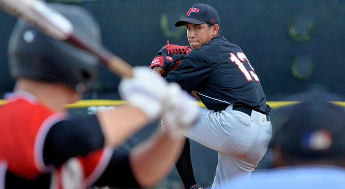Maikor Mora allowed just two hits and an unearned run in eight innings as the Eagles beat South Florida 5-1. (Photo by Tom Hagerty, Polk State.)