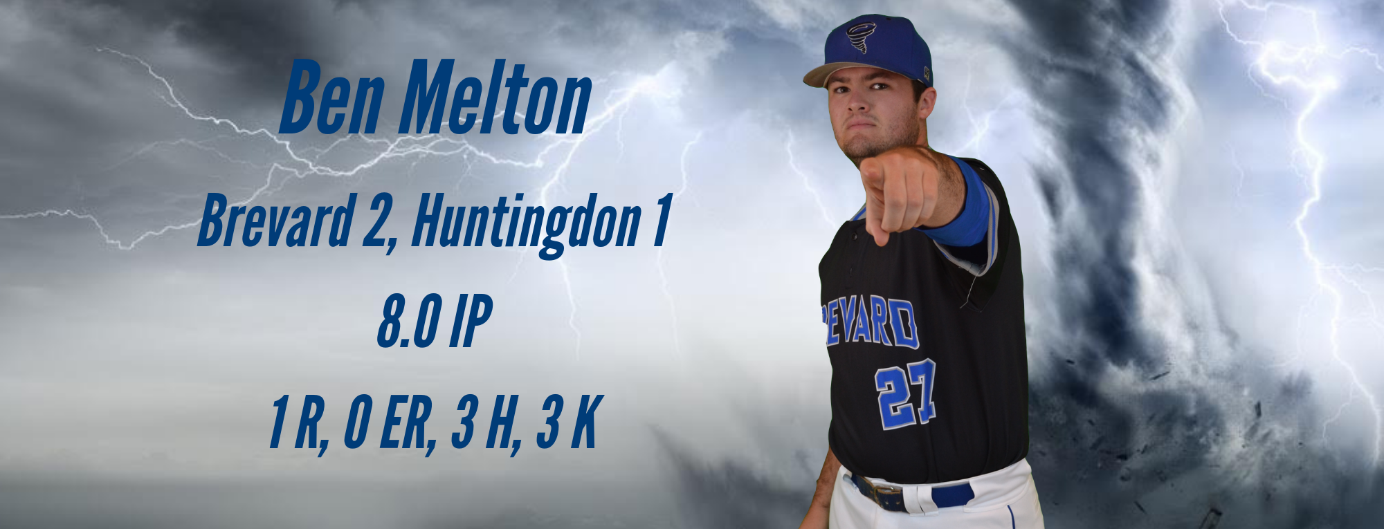 Ben Melton Pitches Eight-Inning Gem as Brevard Splits Doubleheader with No. 11 Huntingdon