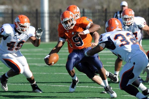 Eagles overcome early miscues; Beat Glenville State in season opener, 45-20