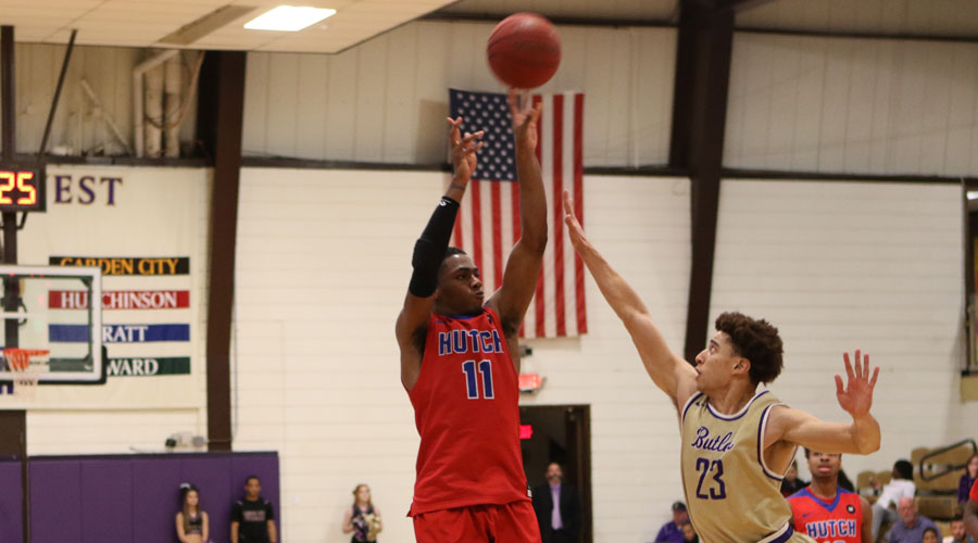 J.J. Rhymes scored a career-high 41 points and led the Blue Dragon men to rally from 26 points down in the first half in an 82-81 victory over Butler on Wednesday in El Dorado. (Joel Powers/Blue Dragon Sports Information)
