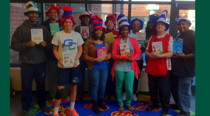 Georgia College Basketball Visits Early Learning Center for Dr. Seuss' Birthday