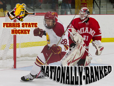 Kyle Bonis and the Ferris State hockey team is ranked 20th this week  in two national college hockey polls.