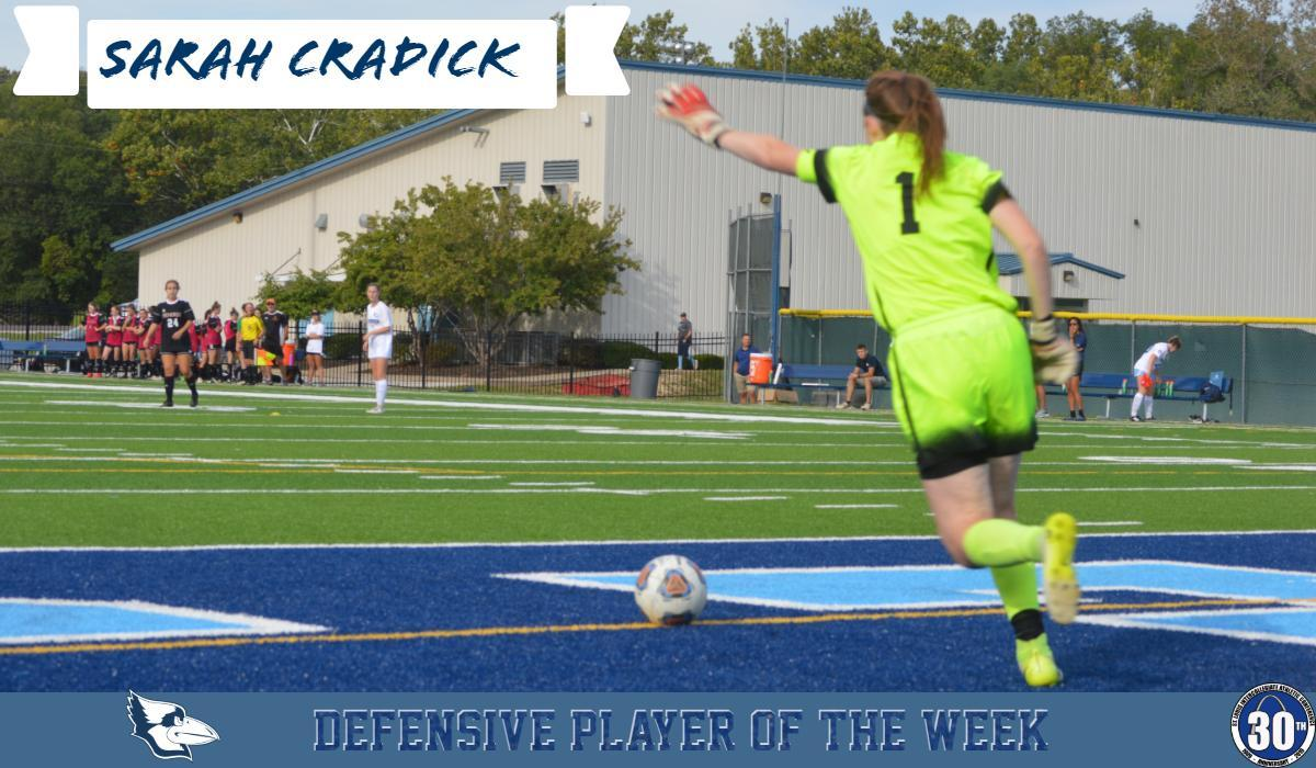 Cradick Earns Third Defensive Player of the Week Award