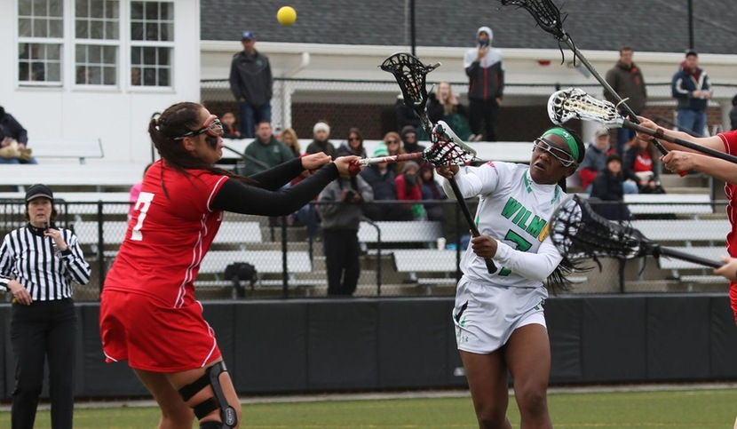 Copyright 2018; Wilmington University. All rights reserved. File photo of Lashay Ross who scored seven goals on Saturday at Nyack, taken by Frank Stallworth. April 7, 2018 vs. Caldwell.
