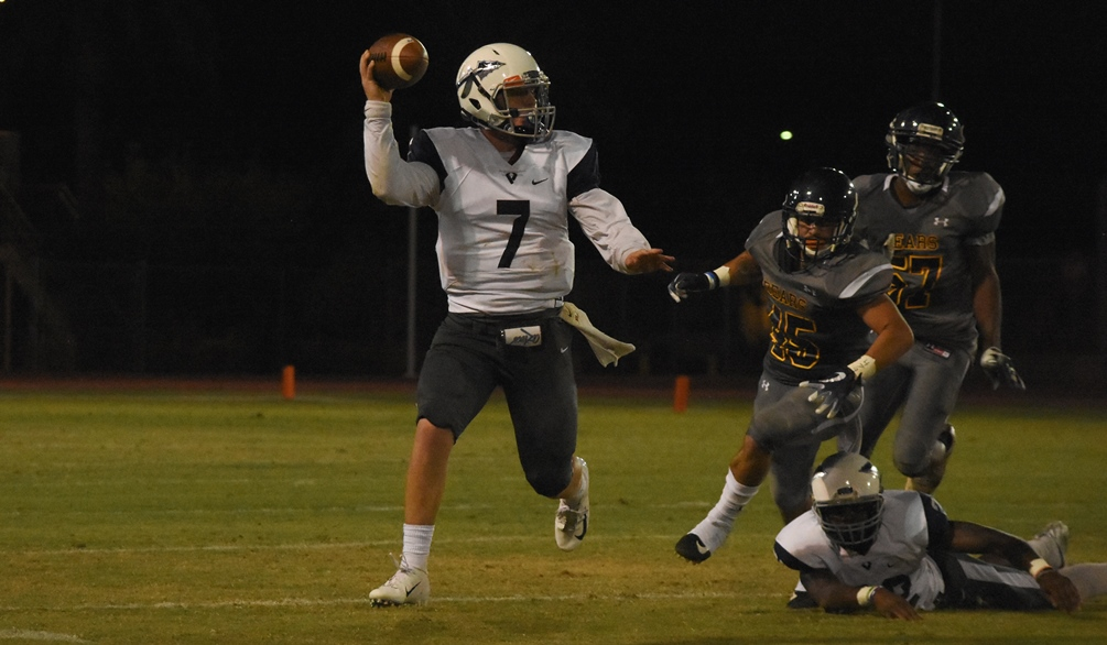 Freshman quarterback Brooks Ringer went 17 for 23 with 226 yards passing with two touchdowns and one interception but the No. 11 ranked Aztecs fell at No. 8 Snow College 64-17. The Aztecs are now 6-2 overall and 4-1 in WSFL play. Photo by Ben Carbajal