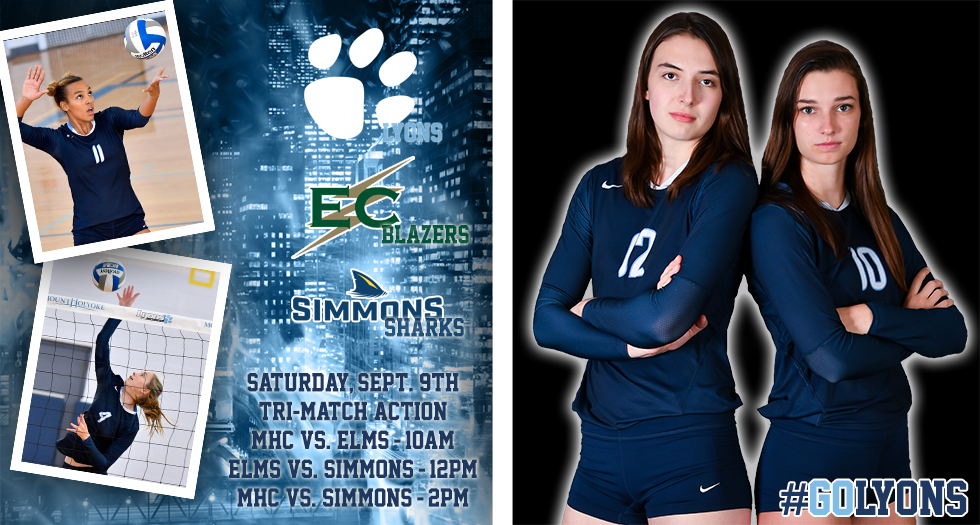 Graphic for Lyons volleyball tri-match on Sat., September 9th. MHC versus Elms at 10am, Elms vs. Simmons at 12pm and MHC vs. Simmons at 2pm.