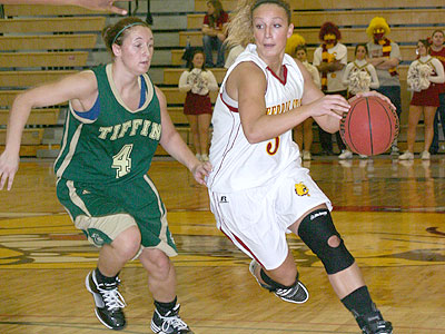FSU's Lindsey Pettit drives past a Tiffin defender on Saturday (Photo by Sandy Gholston)
