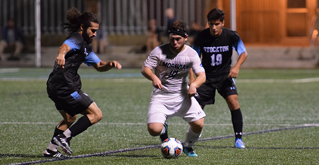 Connor Phillips '18 plays a ball against Stockton University.