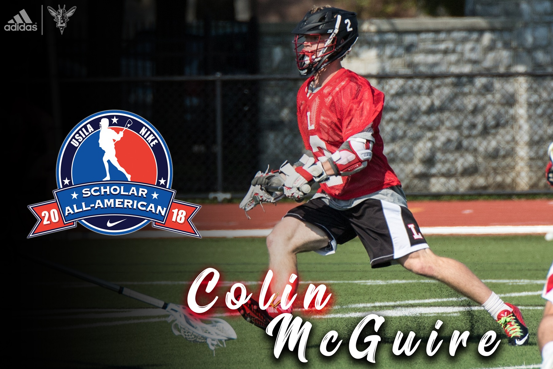 Image of Colin McGuire playing lacrosse in a red jersey. Text: USILA Scholar All-American 2018, Colin McGuire