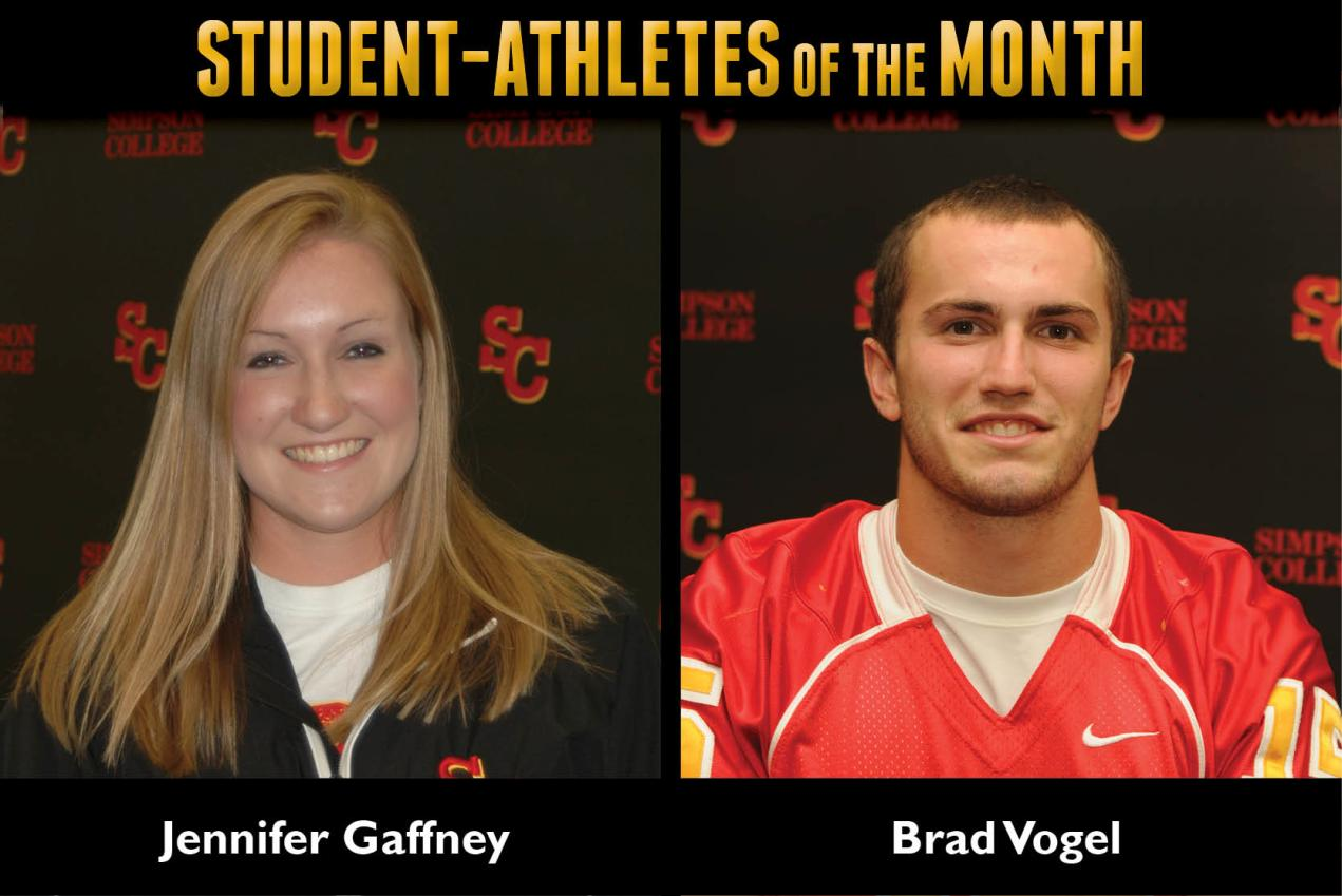 Gaffney, Vogel named Student Atheltes of the Month