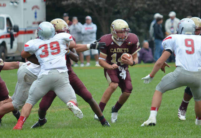 Football: Sabourin Breaks Rushing Record in Cadets' 35-27 loss to Castleton