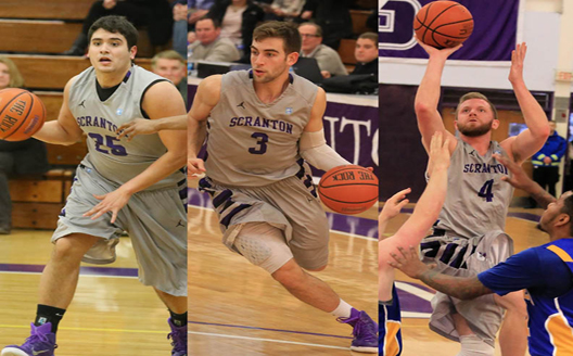 Michael Fee (left), Ross Danzig (center), and Justin Klingman (right) will be honored prior to tip-off of Saturday's game against Elizabethtown College at 4 p.m. in the Long Center as part of Senior Day festivities on campus.