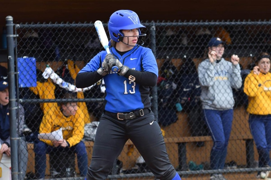 Sophomore Kendall Smith recorded a pair of doubles on opening day for the Blue (Julia Monaco).
