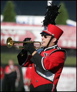 Trumpet player in Marching Pride