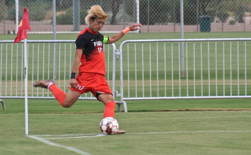 Sophomore Hugo Kametani scored four goals in Pima's 8-1 win over Paradise Valley Community College. The Aztecs improved to 2-1 overall. Photo by Stephanie Van Latum