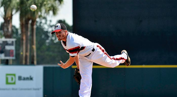 Casey Kulina pitches in Polk State's 5-1 win over Palm Beach State today in the first game of the state tournament.