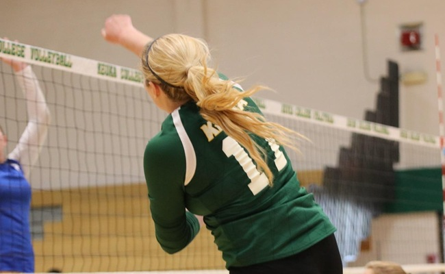 Jadine Buddingh (11) led Keuka College with nine kills against SUNY Potsdam on Friday