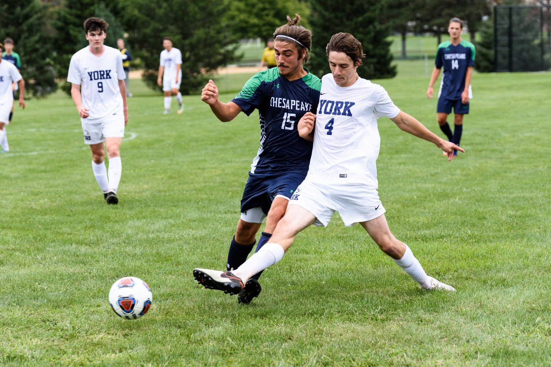 Left back Christopher Verderame challenges for the ball in a game earlier this season.