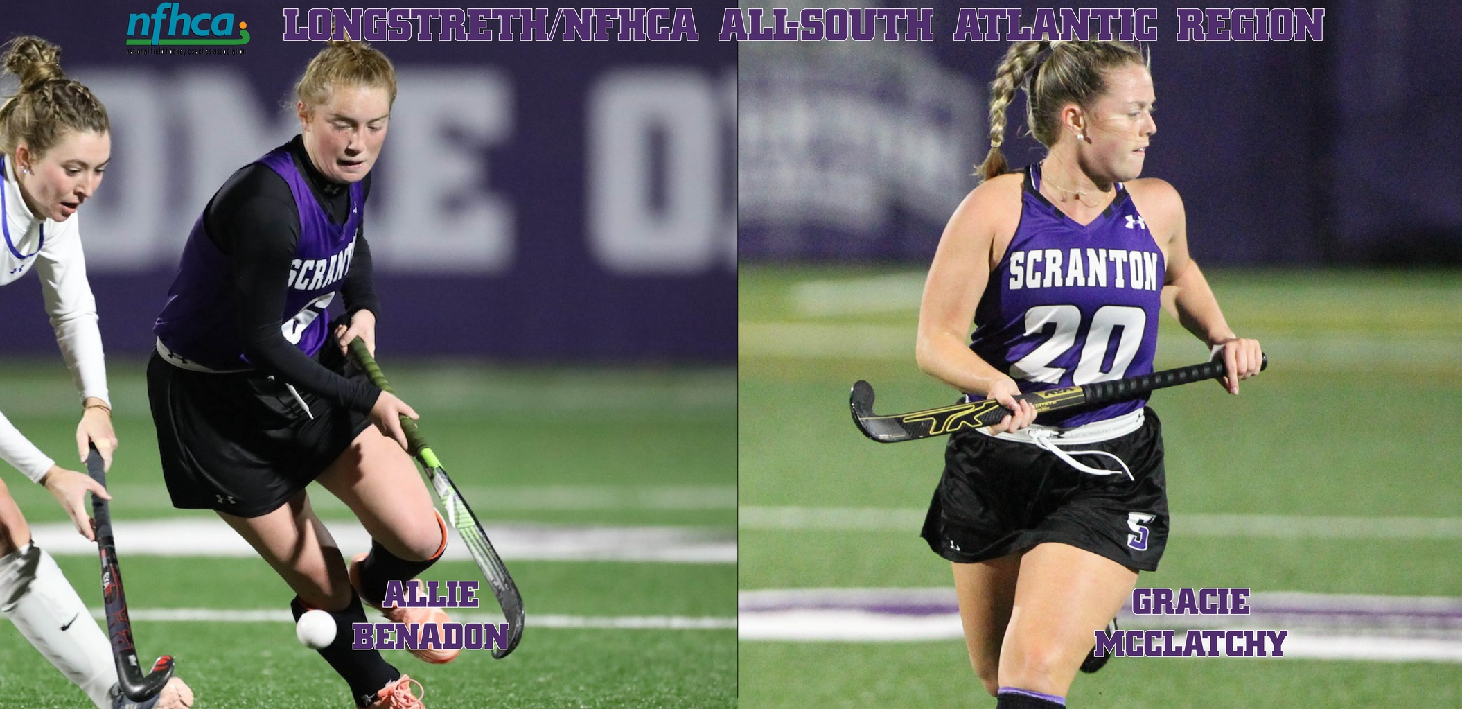 Sophomore Allie Benadon and senior Gracie McClatchy were both named to the Longstreth/NFHCA All-South Atlantic Region Second Team on Tuesday.