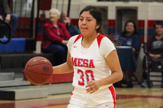 Cheyenne Begay recorded 24 points and 10 assists in Mesa's victory over North Idaho College Friday night. (Photo by Aaron Webster)