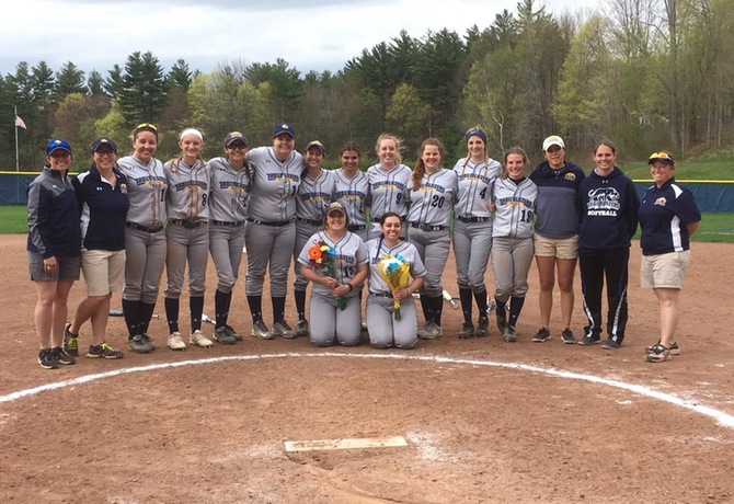 Softball celebrates senior day but drops a pair to Worcester State in season finale