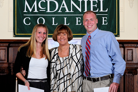 Katie Corson and Jake Nichols with Beth Gerl © 2011 David Sinclair/McDaniel College