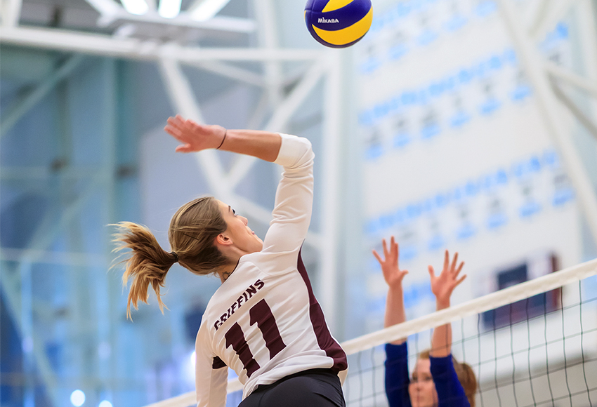 McKenna Stevenson led the Griffins with seven kills in a 3-0 loss to the Alberta Pandas on Saturday (Robert Antoniuk photo).